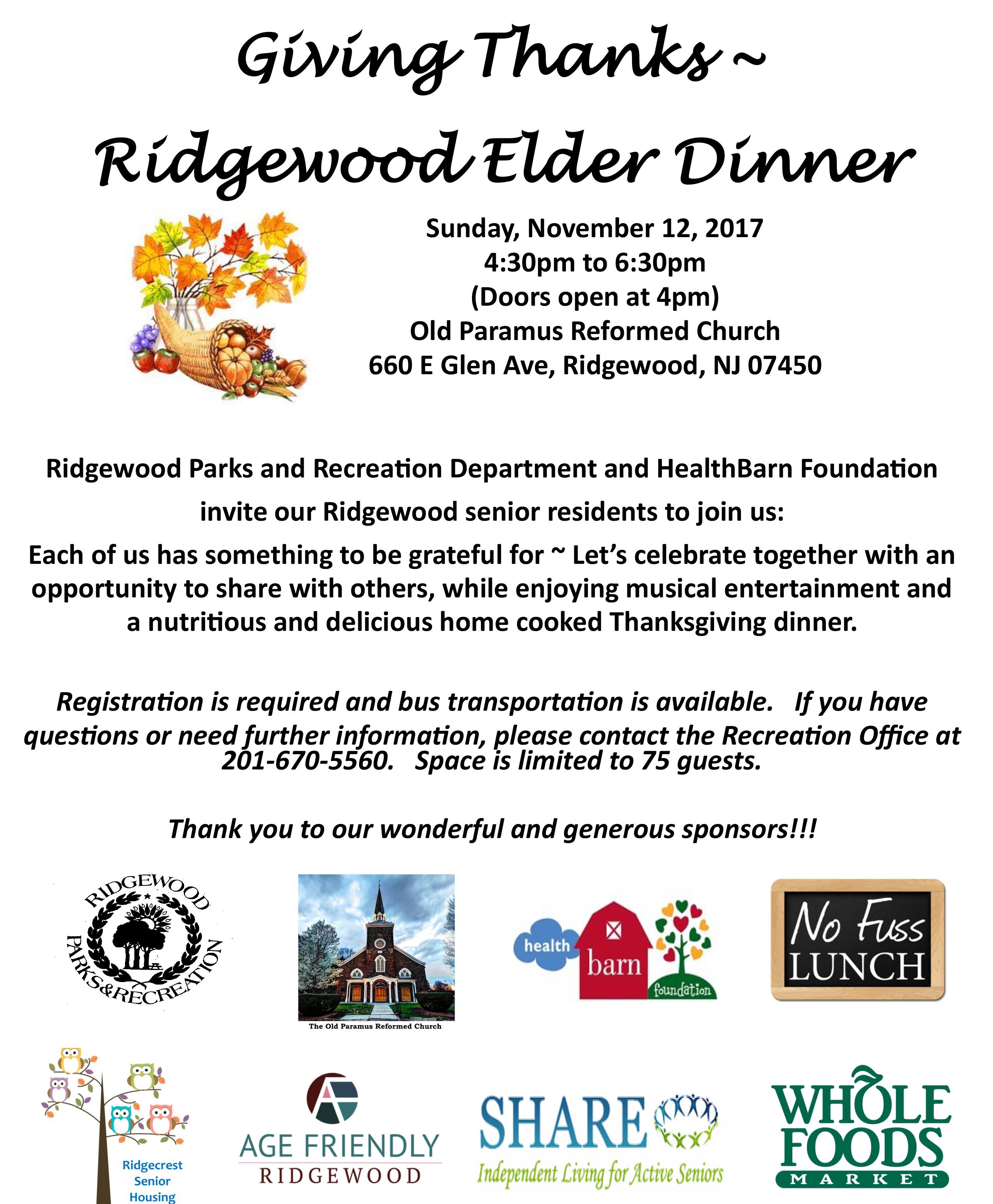 Giving Thanks - Ridgewood Elder Dinner - Age Friendly Ridgewood
