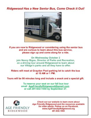 Ridgewood Senior Bus Fall Park Tour Flyer