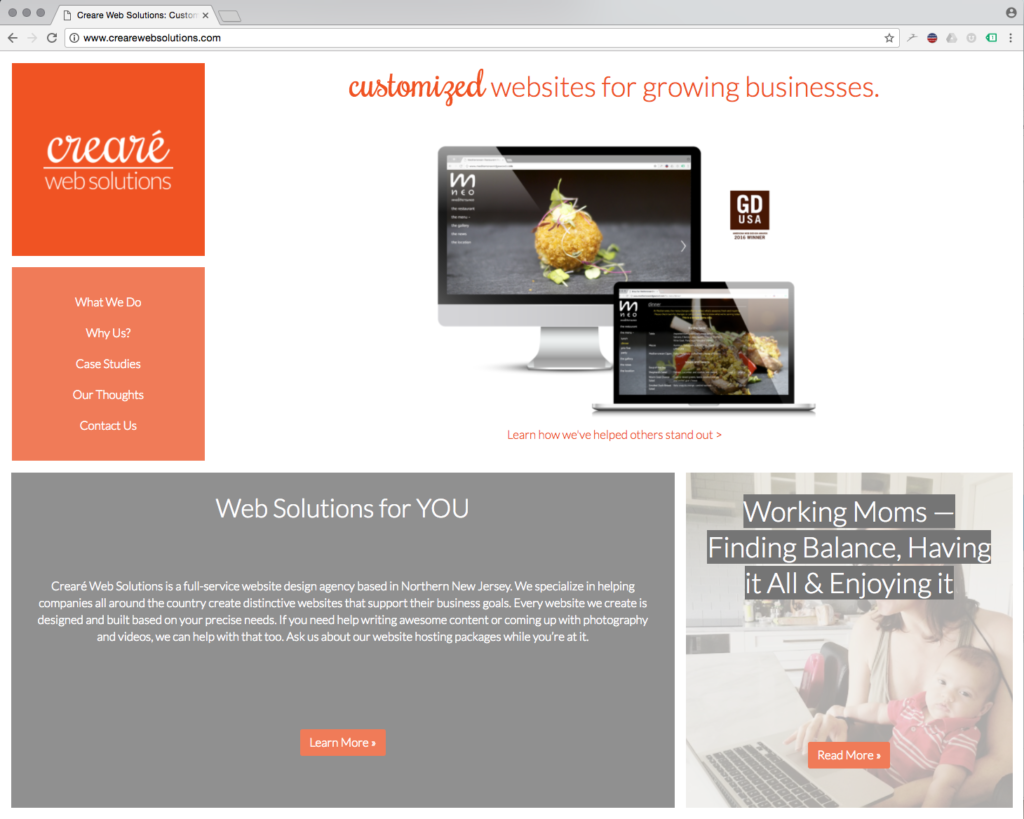 Custom Websites by Creare Web Solutions